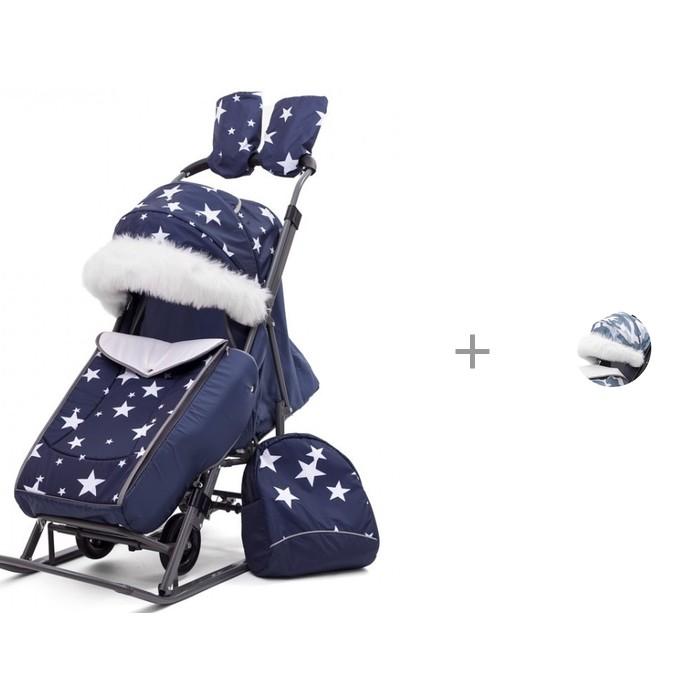 Санки-коляска Pikate Звезды с меховой накладкой на козырек