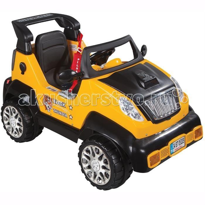 Электромобиль Pilsan Black ThunderBlack ThunderЭтот стильный, солидный автомобиль идеально подойдет Вашему автолюбителю – ведь в нем малыш ощутит себя взрослым, уверенным водителем! Управляя такой машиной, Ваш ребенок с раннего детства получит такие необходимые в будущем навыки уверенного вождения.  Музыкальный руль (6 мелодий) Оборудован передним защитным бампером с имитатором лебедки Наличие плавкого предохранителя Зеркала заднего вида Колеса с бесшумным покрытием Рычаг переключения хода (вперед/назад) Регулируемое сидение с ремнем безопасности Мощный электродвигатель, напряжение 12V (аккумулятор 2х6V) Для детей от 3-8 лет  Контрольная панель приборов  Педали газ и тормоз  Задние тормозные фонари  Передние фары  Максимальная скорость 3.5/7 км/ч Максимальная грузоподъемность 35 кг   Размер машинки - 67х130х71 см.  Компания Pilsan начала свою историю в 1942 году. Сегодня – это компания-гигант индустрии крупногабаритных детских игрушек, которая экспортирует свою продукцию в 57 стран мира. Компанией выпускается 146 наименований продукции – аккумуляторные и педальные автомобили, велосипеды, развивающие игрушки и аксессуары для детей. Вся продукция Pilsan сертифицирована и отвечает международным стандартам качества.<br>