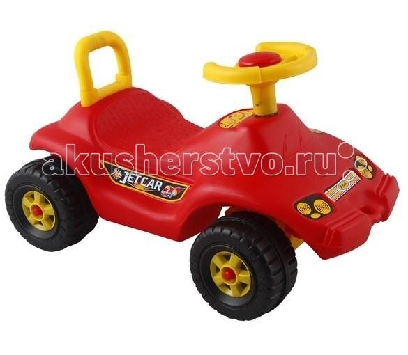 Каталка Pilsan Jet Car Реактивный автомобильJet Car Реактивный автомобильPilsan Jet Car - машинка-каталка для детей от 3 до 5 лет. Реактивный автомобиль имеет удобное широкое сиденье со спинкой. Из-за своих маленьких размеров хорошо подходит для игр, как в доме, так и на улице. У каталки есть гудок. Чтобы каталка поехала, ребенку придется самому отталкиваться ногами.  С сигналом.  Удобное сиденье, устойчивые колёса.   Размеры: ширина - 38,5 см длина - 66,5 см высота - 38 см  Максимальный вес: 25 кг<br>