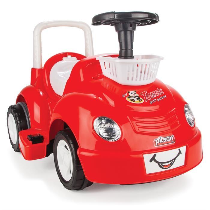 Электромобиль Pilsan TombikTombikУправляя этим автомобилем, Ваш ребенок с самого раннего детства приобретет навыки уверенного вождения. Ведь это фактически настоящий автомобиль, только маленький и безопасный.   Музыкальный сигнал Аккумулятор 6V 4.5Ah Автоматическое торможение при снятии ноги с педали Колеса с бесшумным покрытием Кнопка Вперед/Назад Удобное сидение со спинкой Двигатель 1X6V с задним расположением  Для детей от 2-5 лет  Наличие плавкого предохранителя Педаль газа  Передние фары  Передняя корзина Максимальная скорость 3.5 км/ч Максимальная грузоподъемность 25 кг  Цвета в ассортименте.   Размер машинки - 51х78х42.5 см.  Компания Pilsan начала свою историю в 1942 году. Сегодня – это компания-гигант индустрии крупногабаритных детских игрушек, которая экспортирует свою продукцию в 57 стран мира. Компанией выпускается 146 наименований продукции – аккумуляторные и педальные автомобили, велосипеды, развивающие игрушки и аксессуары для детей. Вся продукция Pilsan сертифицирована и отвечает международным стандартам качества.<br>