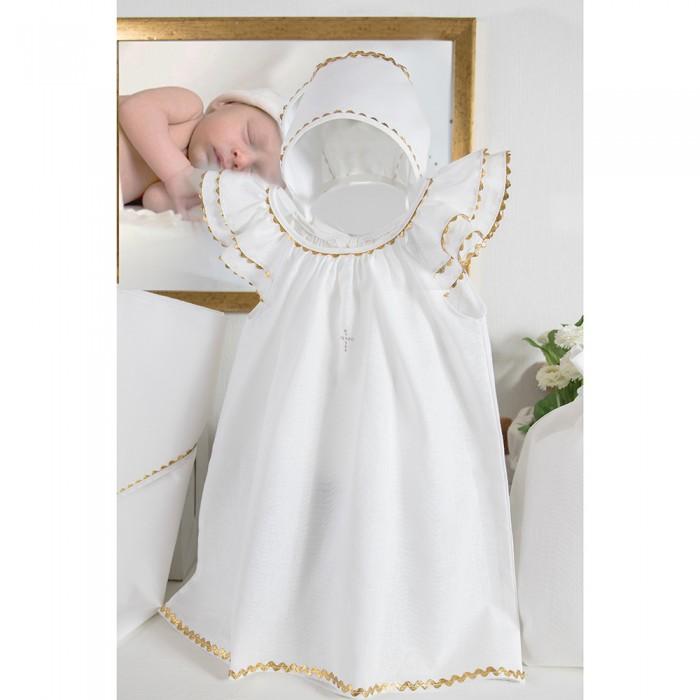 Картинка для Крестильная одежда Pituso Комплект для крещения девочки (платье, чепчик, пеленка, мешочек)