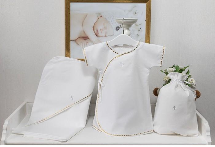 Картинка для Крестильная одежда Pituso Комплект для крещения мальчика (рубашка, пеленка, мешочек)