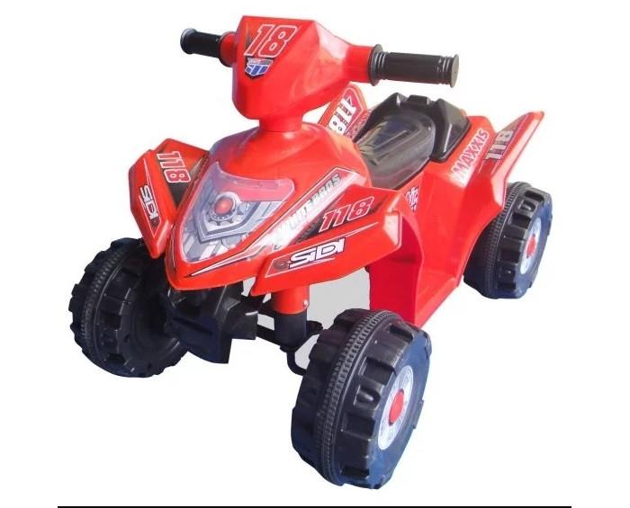 Электромобиль Shanghai Inter-World Квадроцикл 86075/86076Квадроцикл 86075/86076Квадроцикл Пламенный мотор 86075/86076 - отличный выбор активным и любознательным детям. На такой машине юный водитель почувствует себя уверенно и получит массу удовольствия от прогулки.  Управление квадроциклом способствует развитию крупной и мелкой моторики, формирует мускулатуру, влияет на координацию движений, учит ориентироваться на местности, принимать осмысленные решения.  Квадроцикл предназначен для детей старше 3-х лет.  Особенности: Двигатель - 6V, 18W  Аккумулятор - 6V, 4AH  Скорость движения - 2,5 км/ч  Максимальная нагрузка - 25 кг Размер квадроцикла (дхшхв): 68 х 45 х 37,5 см<br>