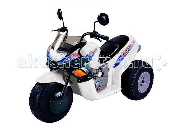 Электромобиль Пламенный мотор Мотоцикл CT-770 Super Space 95013Мотоцикл CT-770 Super Space 95013Пламенный мотор Трехколесный мотоцикл CT-770 Super Space 95013 предназначен для детей от 3 до 8 лет.   У мотоцикла ведущими являются задние колеса.  Мотоцикл оснащен двумя аккумуляторными батареями по 6V/12AH и имеет три передачи: две передние (скорость квадроцикла на первой передаче - 3.5 км/ч, на второй - 7 км/ч) и одну заднюю (скорость 3,5 км/ч).   Передачи переключаются с помощью кнопок на панели перед рулем.  Мотоцикл трогается с места сразу с установленной передачи (первой, второй или задней), после того как ребенок нажимает на педаль газа.  Как только ребенок отпустит педаль газа, мотоцикл сразу останавливается.  Детский мотоцикл легко преодолевает подъем с углом уклона до 10%.   CT-770 SUPER SPACE отличается большой проходимостью и может ездить по любой поверхности (асфальт, земля, песок, гравий, трава).  Все колеса на мотоцикле пластмассовые с резиновыми накладками.  У мотоцикла в момент движения загорается фара.  На детском электроквадроцикле CT-770 SUPER SPACE есть кнопка, при нажатии на которую звучат мелодии.  Среднее время езды при полностью заряженном аккумуляторе от 45 до 60 минут, зависит от нагрузки на мотоцикл и от передачи, на которой катается ребенок. Аккумуляторы находятся под сидением и легко вынимаются для подзарядки.   Особенности:  Электроквадроцикл предназначен для детей от 3 до 8 лет Размер мотоцикла (ДхШхВ): 102 х 53 х 74,5 см Двигатель: 2х6V Аккумулятор: 2х6V/12 AH Аккумуляторы заряжаются до 10 часов Скорость движения: 3,5-7 км/ч Грузоподъемность: 30 кг.<br>