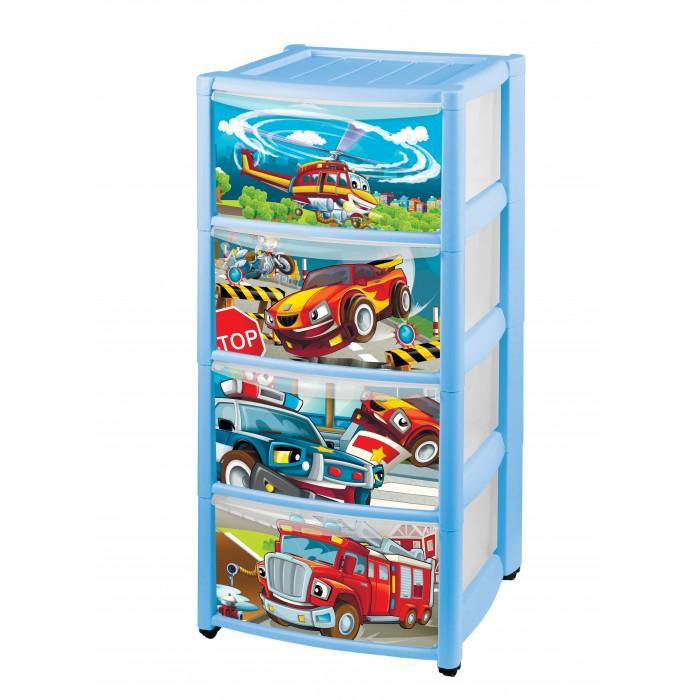 Пластишка Комод детский на колесах с выдвижными ящиками и аппликацией 4 ящика