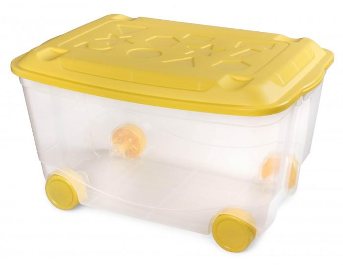 Ящики для игрушек Пластишка Ящик для игрушек на колесах 58х39х34 см с декором ящики для игрушек пластишка ящик универсальный с аппликацией алфавит и цифры 335х240х155 мм