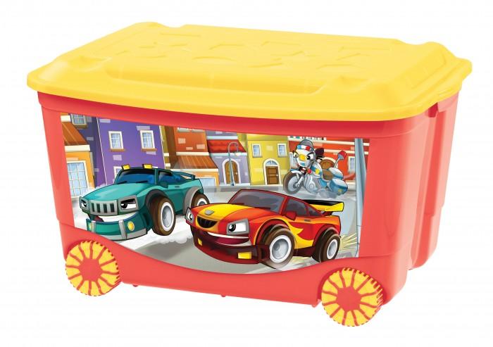 Пластишка Ящик для игрушек на колесах с декором 58х39х34 см