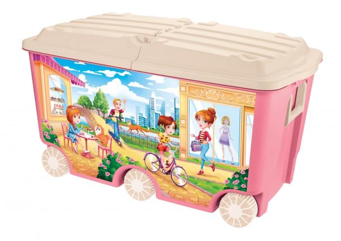 Ящики для игрушек Пластишка Ящик для игрушек на колесах с декором 66.5 л 68,5*39,5*38,5 мм ящики для игрушек пластишка ящик универсальный с аппликацией алфавит и цифры 335х240х155 мм