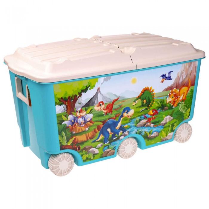 Пластишка Ящик для игрушек на колесах с декором 66.5 л