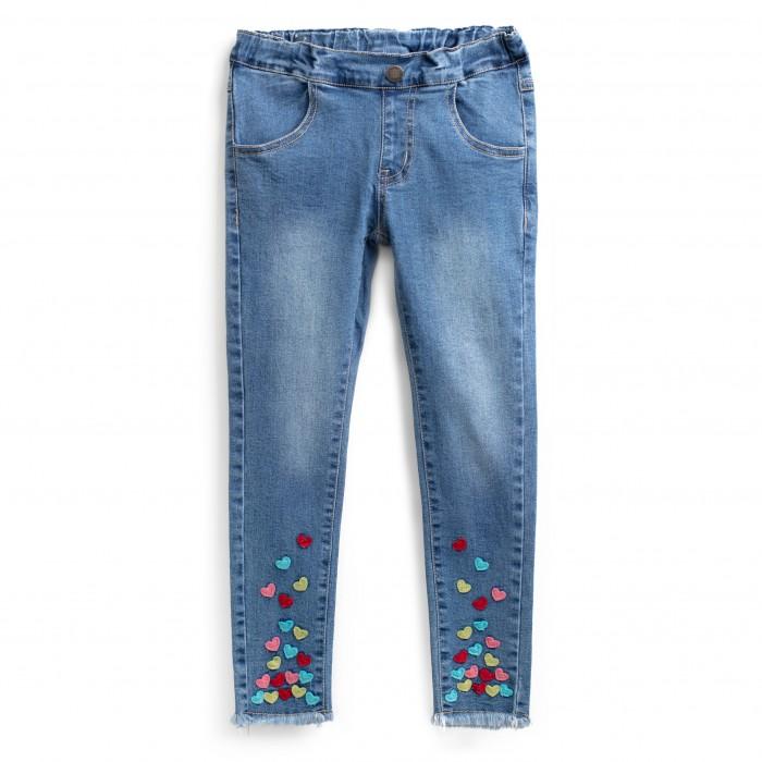 Купить Брюки, джинсы и штанишки, Playtoday Брюки текстильные джинсовые для девочек Искорка 192072
