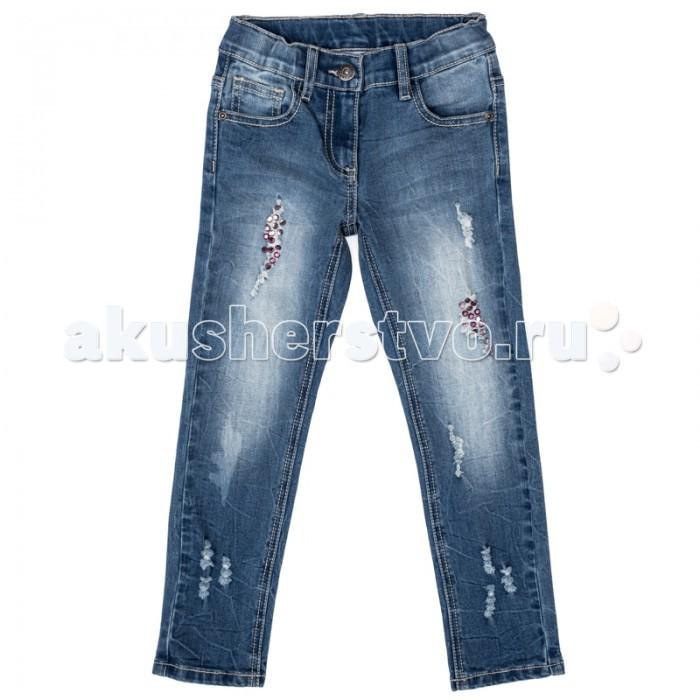 Брюки, джинсы и штанишки Playtoday Брюки текстильные джинсовые для девочек Осеннее настроение 372063