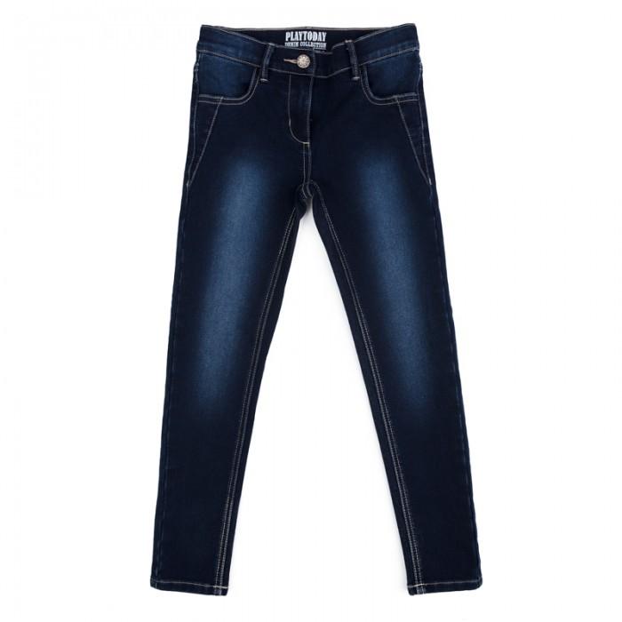 Детская одежда , Брюки, джинсы и штанишки Playtoday Брюки текстильные джинсовые для девочек Утро в Париже 182058 арт: 453714 -  Брюки, джинсы и штанишки