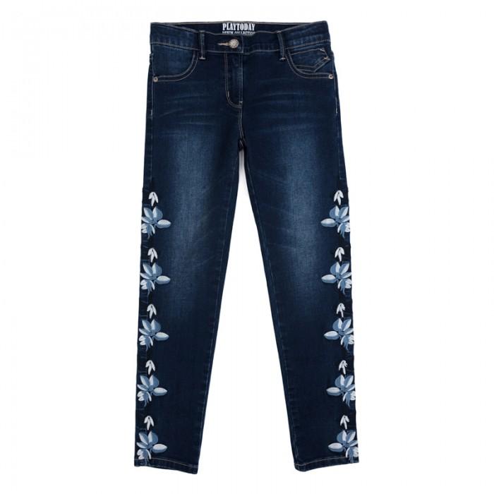 Детская одежда , Брюки, джинсы и штанишки Playtoday Брюки текстильные джинсовые для девочек Утро в Париже 182059 арт: 453724 -  Брюки, джинсы и штанишки