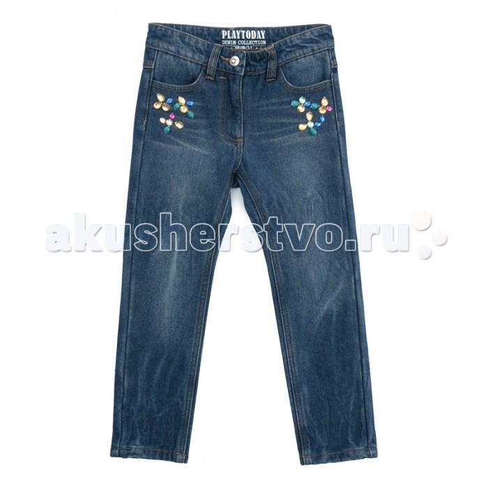 Брюки, джинсы и штанишки Playtoday Брюки текстильные джинсовые для девочек Зимний лес 372110