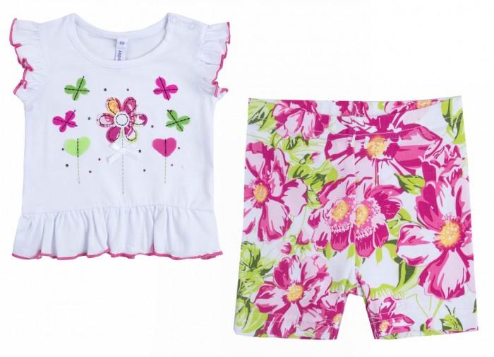Комплекты детской одежды Playtoday Комплект для девочек (футболка, шорты) Мой цветочек 188866 футболки и топы playtoday футболка трикотажная для девочек футболка рок принцесса 682003