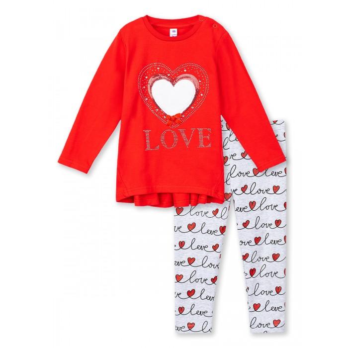 Комплекты детской одежды Playtoday Комплект для девочек (туника на кнопках, леггинсы) Snow College baby