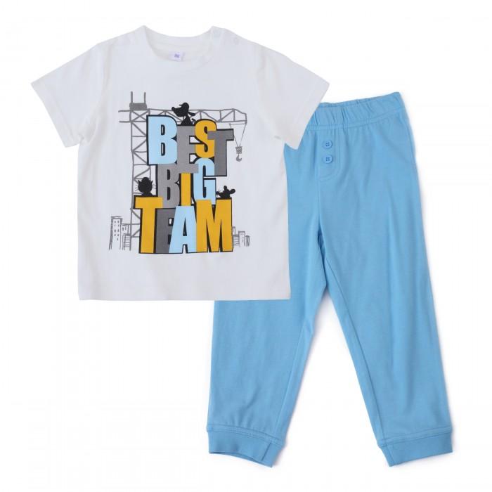 Комплекты детской одежды Playtoday Комплект для мальчиков (футболка, брюки) Маленькие строители 187030 комплект luisa spagnoli одежда повседневная на каждый день