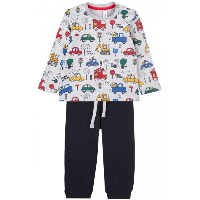Купить Комплекты детской одежды, Playtoday Комплект: фуфайка и брюки Car collection baby boys
