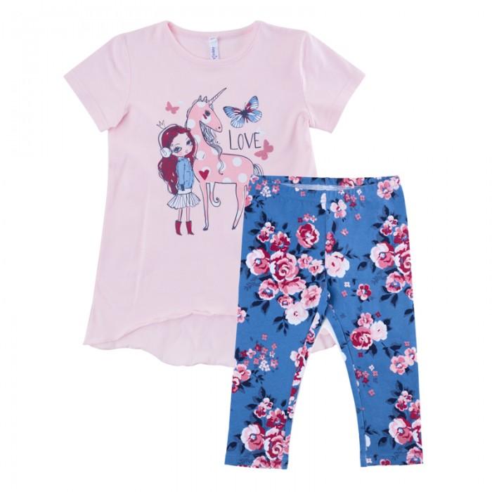 Комплекты детской одежды Playtoday Комплект трикотажный для девочек: фуфайка (футболка), брюки (легинсы) Утро в Париже 182075