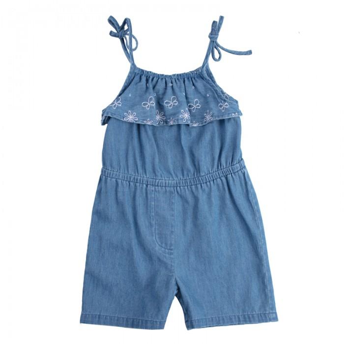 Брюки, джинсы и штанишки Playtoday Полукомбинезон текстильный для девочек Солнечная палитра 188070