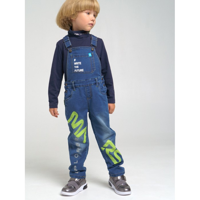 Брюки и джинсы Playtoday Полукомбинезон текстильный джинсовый для мальчиков 32112042