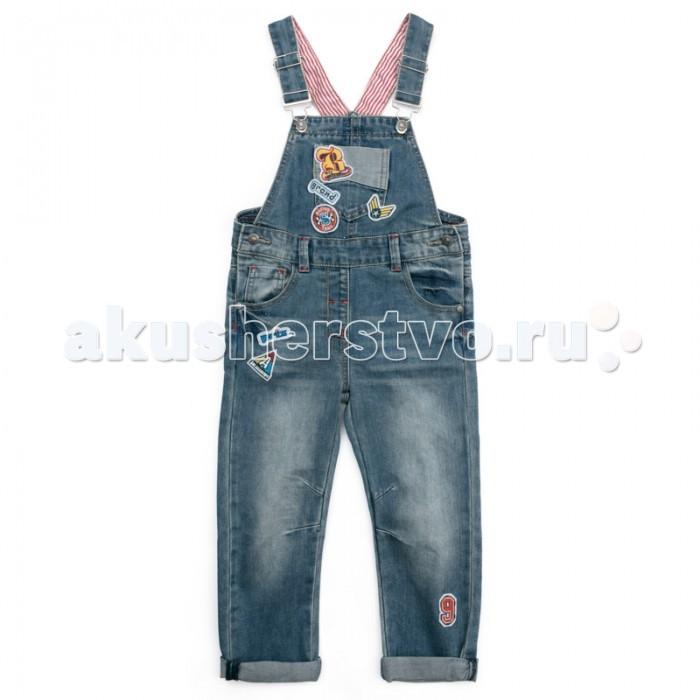 Детская одежда , Брюки, джинсы и штанишки Playtoday Полукомбинезон текстильный джинсовый для мальчиков Драйв 371065 арт: 369573 -  Брюки, джинсы и штанишки