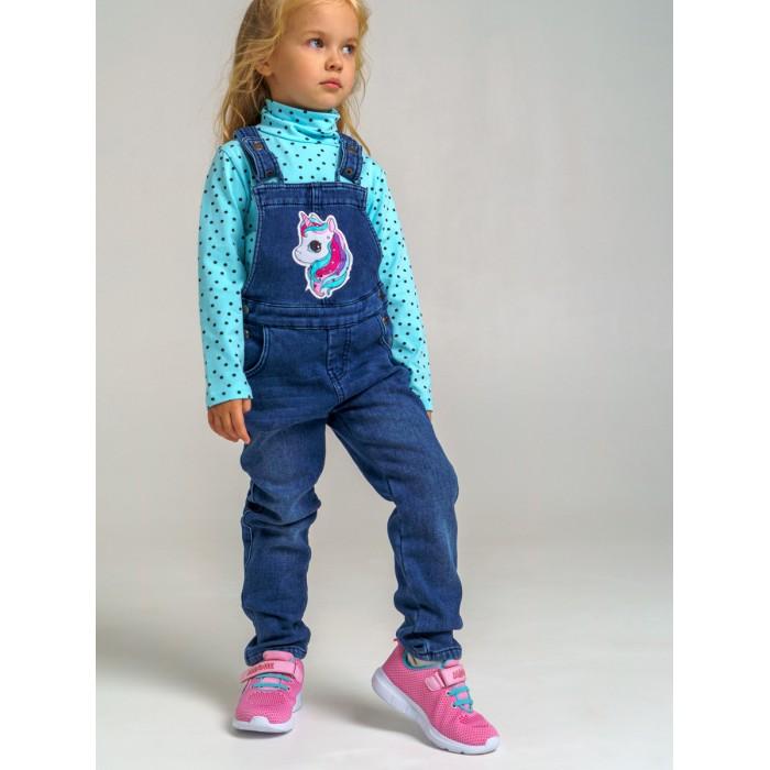 Брюки и джинсы Playtoday Полукомбинезон текстильный джинсовый утепленный флисом для девочек 32122404