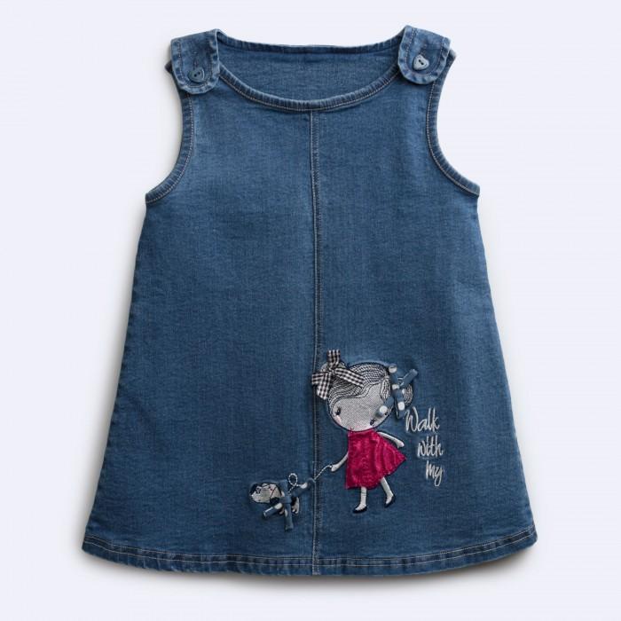 Купить Платья и сарафаны, Playtoday Сарафан текстильный джинсовый для девочек Королева цветов