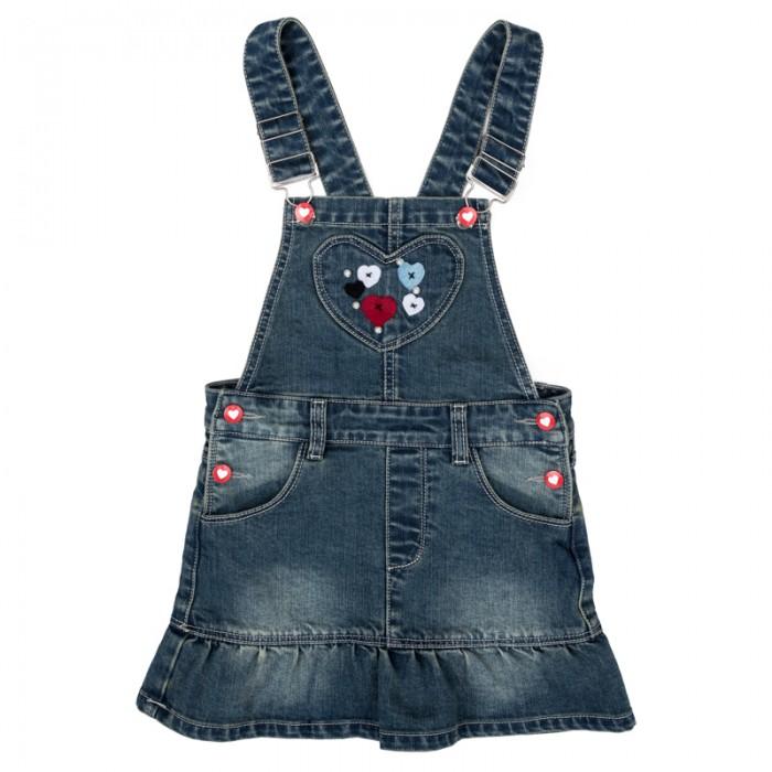 Детские платья и сарафаны Playtoday Сарафан текстильный джинсовый для девочек Осеннее настроение 372075 платья для девочек
