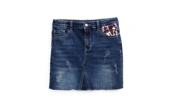 Playtoday Юбка текстильная джинсовая для девочек Супер звезда