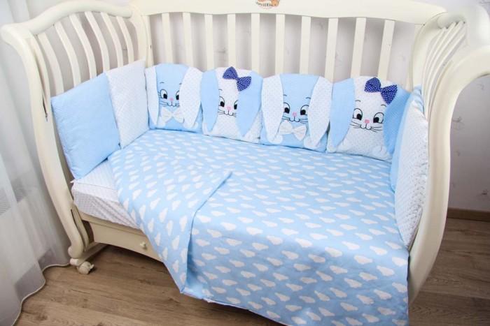 Купить Комплекты в кроватку, Комплект в кроватку Подушкино Комплект в кроватку со съемными наволочками 3D Зайки(6 предметов)
