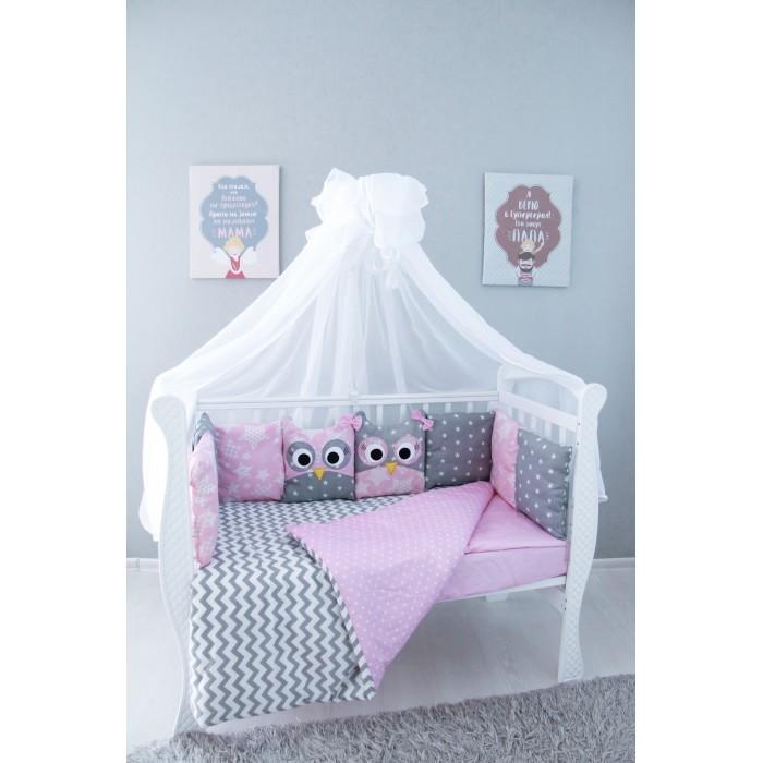 Комплект в кроватку Подушкино Совы со съемными наволочками (6 предметов)