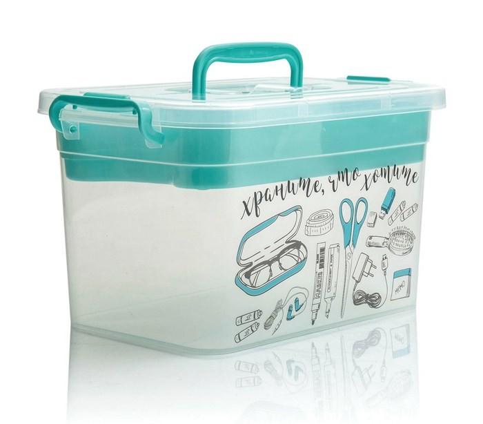 Ящики для игрушек Полимербыт Ящик с крышкой на защелках с вкладышем для важных мелочей 7 л 4380902 ящик для хранения полимербыт 15 л