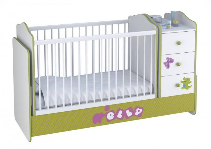 Купить Кроватки-трансформеры, Кроватка-трансформер Polini Basic Elly с комодом