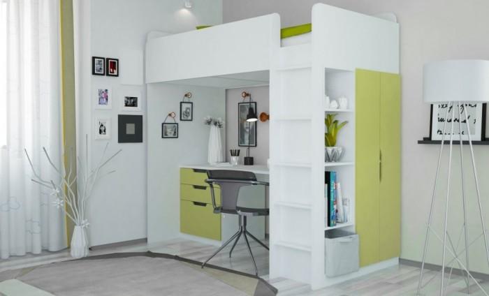 Подростковая кровать Polini чердак kids Simple с письменным столом и шкафом