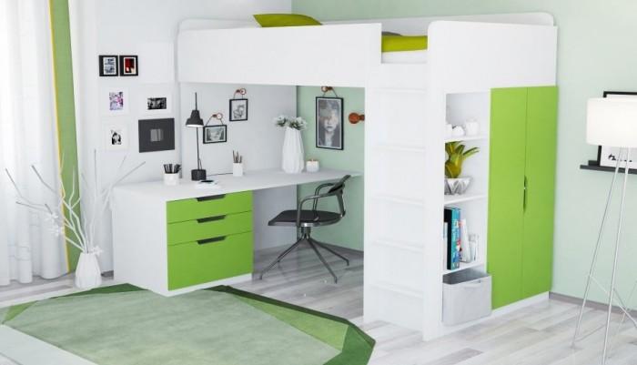 Купить Кровати для подростков, Подростковая кровать Polini чердак kids Simple с письменным столом и шкафом