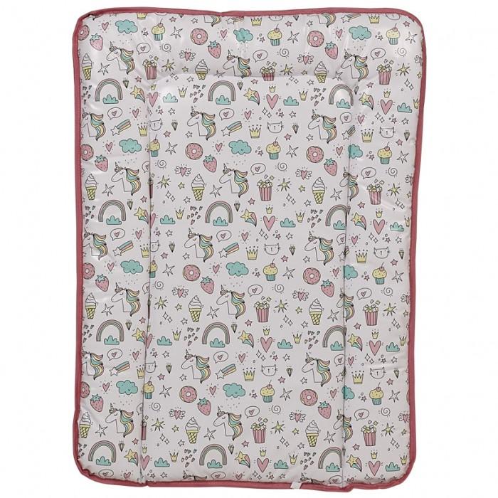накладки для пеленания Накладки для пеленания Polini Kids Матрас для пеленания на комод Единорог Сладости
