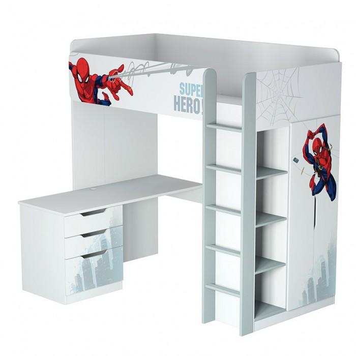 Подростковая кровать Polini kids чердак Marvel 4355 Человек паук с письменным столом и шкафом kids чердак Marvel 4355 Человек паук с письменным столом и шкафо