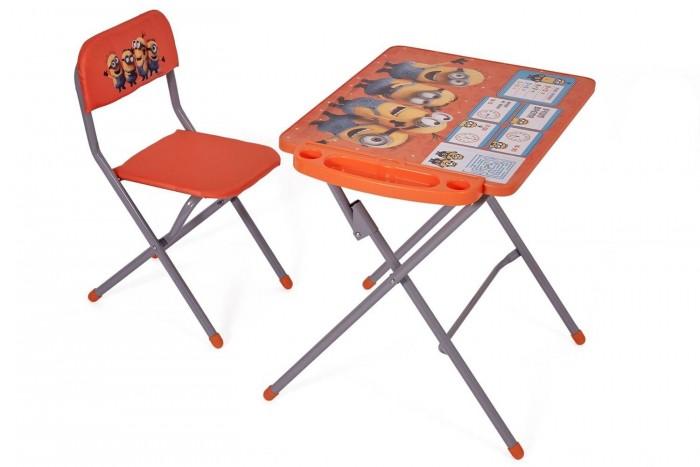 Polini kids Комплект детской мебели 303 Гадкий яДетские столы и стулья<br>Polini kids Комплект детской мебели 303 Гадкий я изготовлен из прочных и безопасных материалов, которые соответствуют требованиям ГОСТ.  Особенности:  Конструкция и размеры мебели способствуют формированию правильной осанки ребенка Комплект состоит из складного стула и столика,что позволяет организовать полноценную рабочую зону малыша с самого детства Форма столешницы не имеет острых углов,поэтому набор является абсолютно безопасным Для удобства во время занятий и творчества у столика есть подставка для ног Мягкая спинка и сидение стульчика обтянуты водоотталкивающей обивкой, что дает возможность ребенку даже обедать за столом, как взрослый Познавательная картинка на столешнице не даст скучать малышу. Размеры:  Высота столика: 580 мм Высота стула по спинке: 590 мм Расстояние от пола до сидения стула: 340 мм Столешница (ДхШ): 600х450 мм Сидение (ДхШ): 280х280 мм.