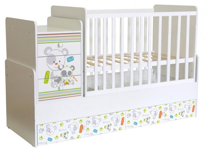 Кроватка-трансформер Polini kids Simple 1100 Панды
