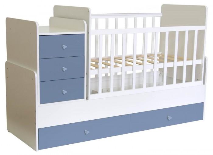 Кроватка-трансформер Polini Kids Simple 1111Кроватки-трансформеры<br>Кроватка-трансформер Polini Kids Simple 1111 трансформер с комодом имеет 3 положения высоты ортопедического ложа. Днище реечное. В основании кровати 2 вместительных ящика. Комод кроватки имеет пеленальную поверхность с закругленными бортиками по бокам. В комод входят 3 ящика. На боковых стенках кровати силиконовые накладки. Механизм опускания боковой планки отсутствует. Трансформер имеет маятниковый механизм поперечного качания.   Размер детского ложа – 60х120 см Трансформируется в подростковую кровать, размер ложа которого 60х170 см., и независимую приставную тумбу Кровать можно использовать до 12 лет Изготовлено из материала: ЛДСП+ массив березы компании Kronospan (Австрия) Производство товара осуществляется в соответствии с требованиями европейской сертификации DIN EN 716-2-2008+A1-2013 Размеры кроватки (ВхШхГ) – 100х173,2х63,6 см Размер тумбы (ШхВ) – 41,6х66,0 см