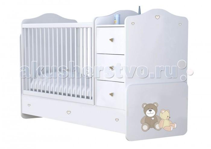 Детская мебель , Кроватки-трансформеры Polini Плюшевые Мишки с комодом арт: 377424 -  Кроватки-трансформеры