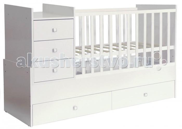Детская мебель , Кроватки-трансформеры Polini Simple 1000 с комодом арт: 377394 -  Кроватки-трансформеры