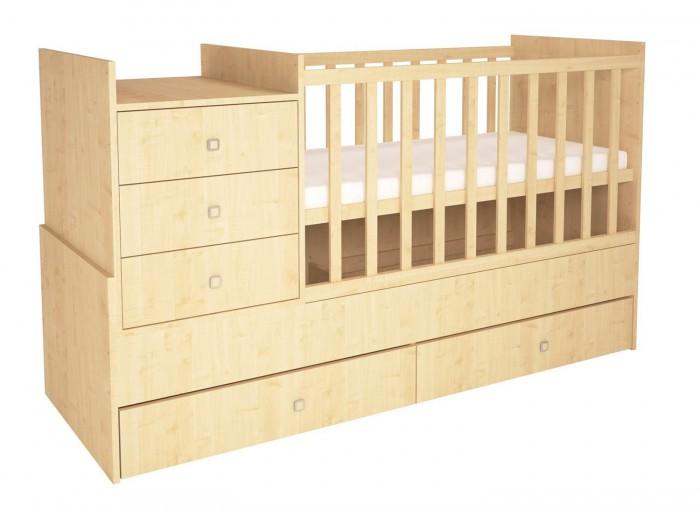 Купить Кроватки-трансформеры, Кроватка-трансформер Polini Simple 1000 с комодом