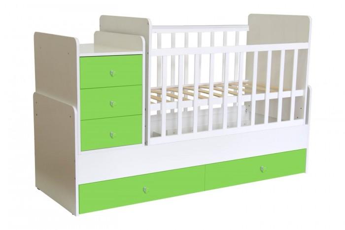 Кроватки-трансформеры Polini Simple 1100 с комодом детские кроватки kitelli kito orsetto качалка