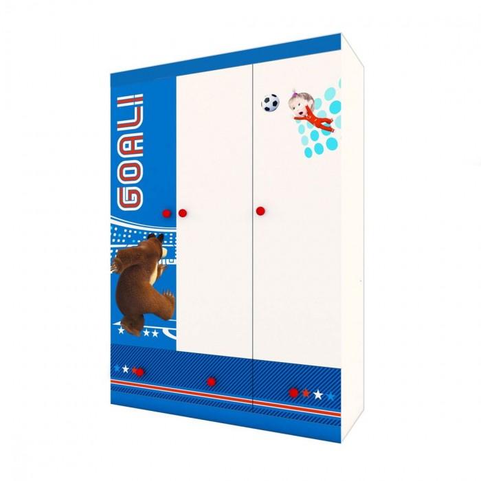 Шкаф Polini трехсекционный Kids Fun 1360 Маша и Медведь
