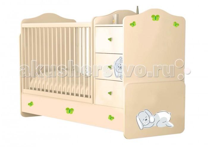 Детская мебель , Кроватки-трансформеры Polini Зайки с комодом арт: 377414 -  Кроватки-трансформеры
