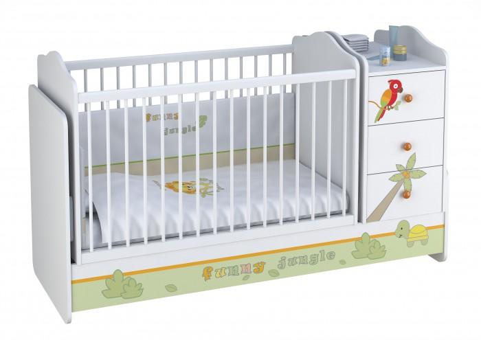 Детская мебель , Кроватки-трансформеры Polini Basic Джунгли с комодом арт: 292549 -  Кроватки-трансформеры
