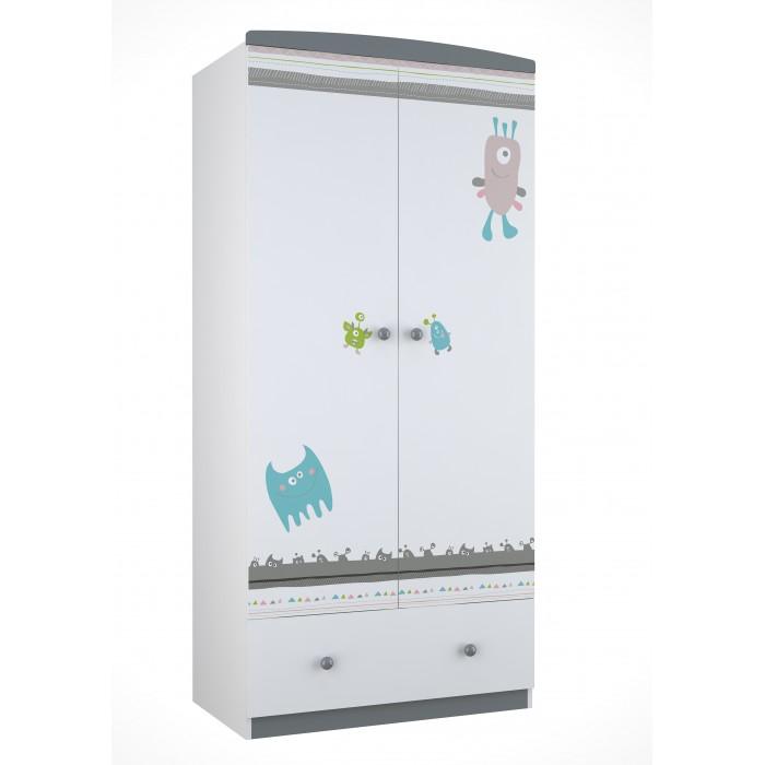 Детская мебель , Шкафы Polini Basic Монстрики двухсекционный арт: 292648 -  Шкафы