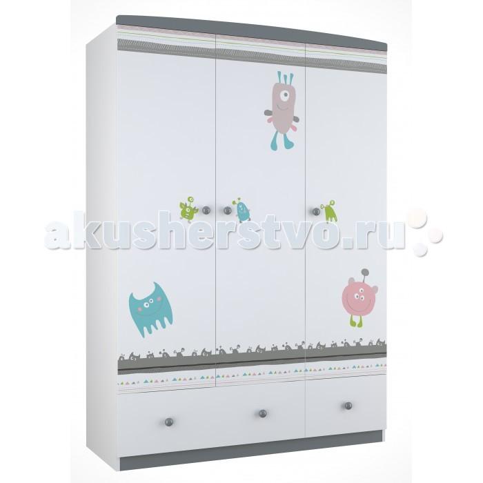 Детская мебель , Шкафы Polini Basic Монстрики трехсекционный арт: 292651 -  Шкафы